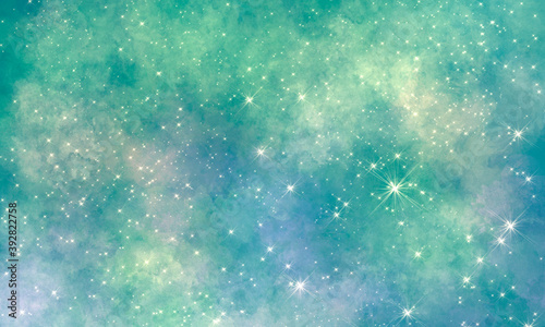 green blue space bright pleasant light multicolor rich background with nebulae and many stars and sparks