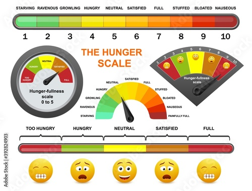 Hunger fullness meter, flat vector illustration Fotobehang