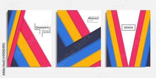 Cuadros en Lienzo Cover design, modern abstract minimalist background, colorful geometric rectangles, simple shapes, trendy design