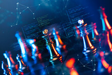 Finance Business Investment Strategy Competition, Big Data Analytic Artificial Intelligence Technology, AI Computer Coding And Chess Foreground.