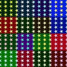 Abstract Geometric Astronira's Textured Pattern With A Five-pointed Stars In The Op Art Stryle On The Multicolored Background