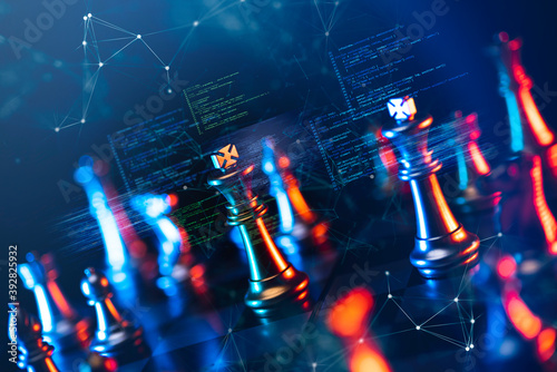 Fotografering Finance business investment strategy competition, big data analytic artificial intelligence technology, AI computer coding and chess foreground