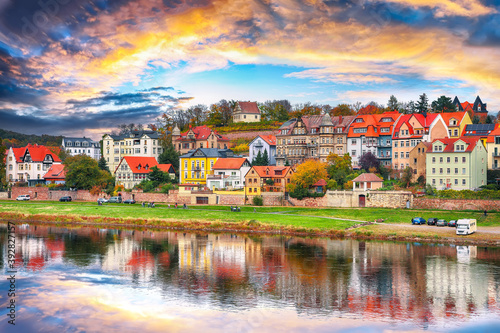 Fototapeta Fantastic sunset view on cityscape of Meissen town on the River Elbe