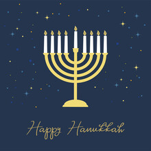 Happy Hanukkah Lettering Greeting Card. Festive Poster Print Typographical Inscription. Hanukkah Background With Golden Menorah Pattern, Traditional Candelabra And Candles Vector Vintage Illustration.