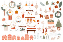 Merry Christmas Or Happy New Year Boho Elements. Winter Holidays Element In Scandinavian Style. Cozy Hygge Home Decor Elements. Editable Vector Illustration.