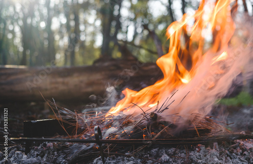 Foto Small campfire with flames and thick smoke beside a forest during a glowing sunset