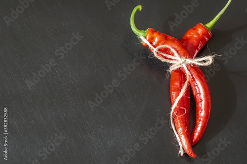 Two pods of ripe red chili peppers on black background. Canvas