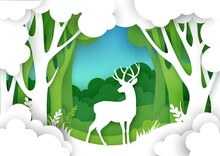 Paper Cut Forest Landscape And...