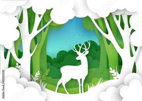 Paper cut forest landscape and beautiful deer silhouette. Vector illustration in paper art style. Save nature and wildlife. Ecology, environment conservation.