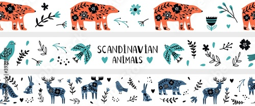 Scandinavian banners. Nordic wild animals, doodle floral elements seamless pattern. Childish hipster modern decorative vector elements