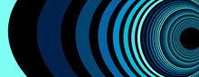 Colorful Blue Abstract Vector Lines Psychedelic Optical Illusion Illustration, Surreal Op Art Linear Curves In Hyper 3D Perspective, Crazy Distorted Design, Drug Hallucination Delirium.