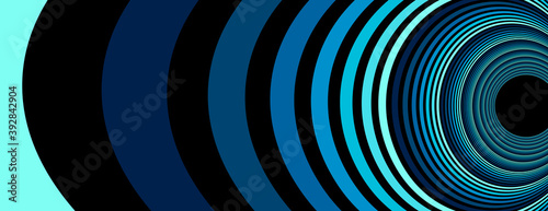 Fototapeta premium Colorful blue abstract vector lines psychedelic optical illusion illustration, surreal op art linear curves in hyper 3D perspective, crazy distorted design, drug hallucination delirium.