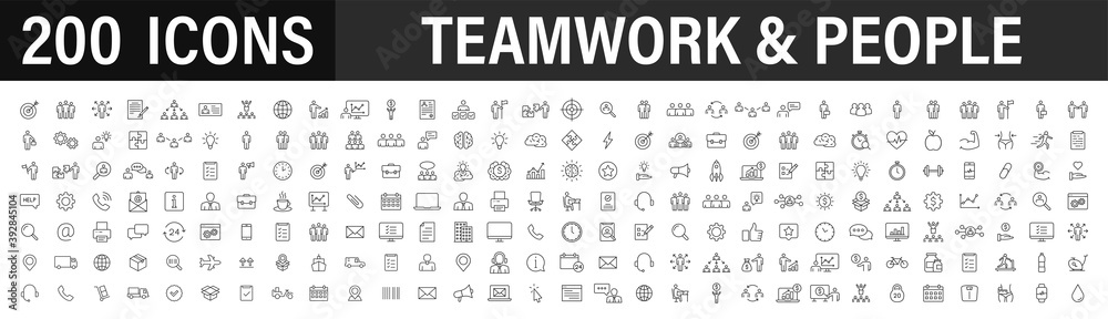 Fototapeta Set of 200 Teamwork web icons in line style. Team Work, people, support, business. Vector illustration.