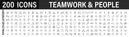 Obraz Set of 200 Teamwork web icons in line style. Team Work, people, support, business. Vector illustration. - fototapety do salonu