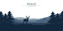 Wildlife Deer In Forest With Mountain View Blue Nature Landscape Vector Illustration EPS10