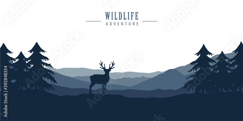 Valokuvatapetti wildlife deer in forest with mountain view blue nature landscape vector illustra