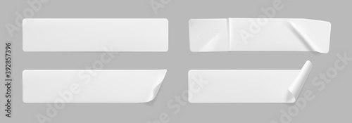 Photo White glued crumpled stickers with curled corners mock up set