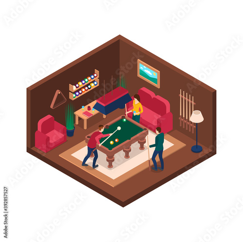Fotografie, Tablou Characters People and Billiard Room Interior with Furniture Isometric View