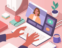 Hands Typing On Laptop With Video Chat On Screen. People Studying, Training And Communicating Together On Educational Platform. Online Education Concept. Flat Isometric Vector Illustration.