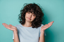 Unhappy Beautiful Curly Girl P...