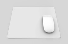 Blank White Mouse Pad With Computer Mouse For Branding And Design Presentation. 3d Render Illustration.