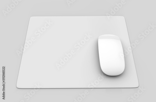 Obraz Blank white mouse pad with computer mouse for branding and design presentation. 3d render illustration. - fototapety do salonu