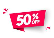 Vector Illustration 50 Percent Off Banner. Modern Red Web Label.