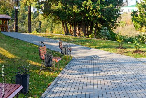 Fotografia New light brawn bench in park near the alley in falling season in calm weather