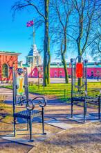 The Metal Modern Chairs In Peter And Paul Fortress Of St Petersburg, Russia