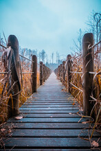 A Wooden Footbridge Stretched...