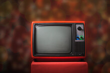 Retro Old TV On Red Wooden Box...