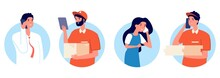 Delivery Service. People Talking On Smartphone With Postman. Food Pizza Parcels Bringing, Online Shopping And Logistic Vector Concept. Delivery Service At Home, Character Call Smartphone