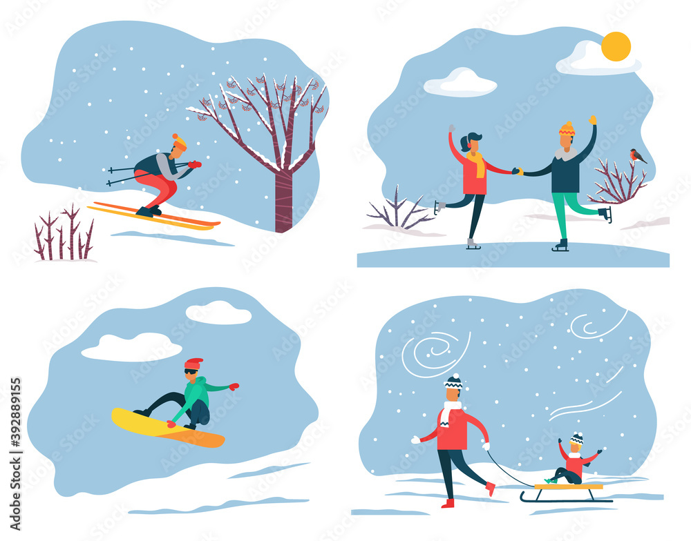 Fototapeta Set of people on winter vacation leading active and sportive lifestyle. Skiing and snowboarding, couple ice skating. Father pulling sleds with son sitting on it. Family weekends in wintertime vector