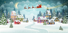 Christmas Scene With Santa And Reindeer