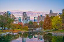 Skyline Of Charlotte North Carolina Sunrise Autumn