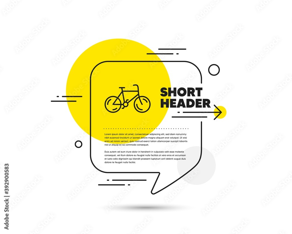 Fototapeta Bicycle transport line icon. Speech bubble vector concept. Bike public transportation sign. Driving symbol. Bicycle line icon. Abstract bubble balloon badge. Vector