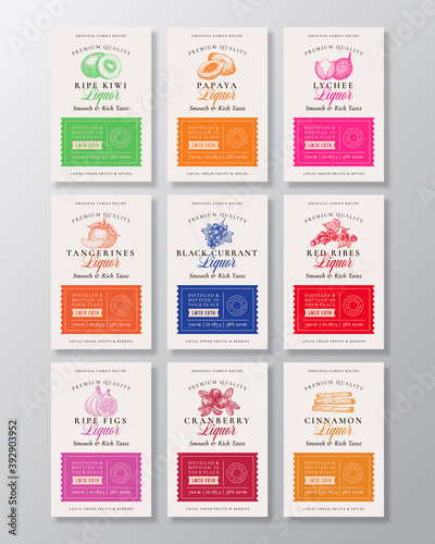Family Recipe Exotic Fruits, Berries and Spices Liquor Acohol Labels Collection. Abstract Vector Packaging Design Layouts Set. Modern Typography Banners with Hand Drawn Logo and Background. Isolated
