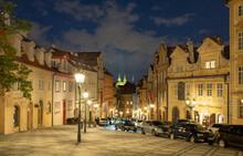 Evening Street In Prague Old T...