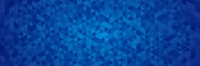 Blue Triangle Polygonal Mosaic Abstract Banner Background