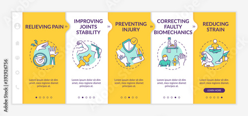 Injury recovery onboarding vector template. Physical rehabilitation. Body healthcare. Muscle pain relief. Responsive mobile website with icons. Webpage walkthrough step screens. RGB color concept