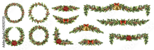 Fototapeta Big set of Christmas fir garlands with poinsettia, red berries, cones and jingle bells. obraz