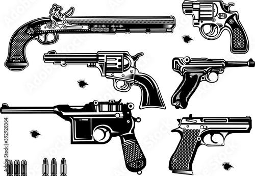 Cuadros en Lienzo Guns: old and modern pistols and revolvers