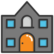 Flat Icon Of Adjoining Buildings, Residential Community