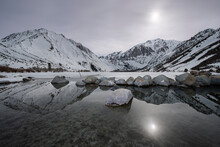 Convict Lake Reflecting The Moonlight On A Bright Night