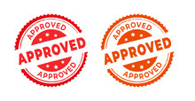 Approved Stamp With The Word Approved. Approved Stamp In Rubber Style, Red Round Approved Sign