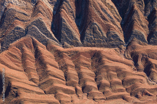 Canvastavla The Raplee Anticline, striped geology seen from above in Utah desert