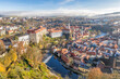 Panoramic aerial view over towncenter of Cesky Krumlov during autumn season in Czech Republic