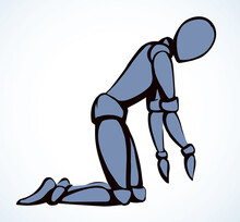 The Puppet Is Kneeling. Vector Drawing