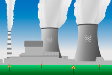Vector Illustration Of A Nuclear Power Plant, With Smoking Cooling Towers And Radiation Hazard Signs