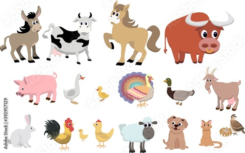 Farm animals decorative icons set isolated vector illustration